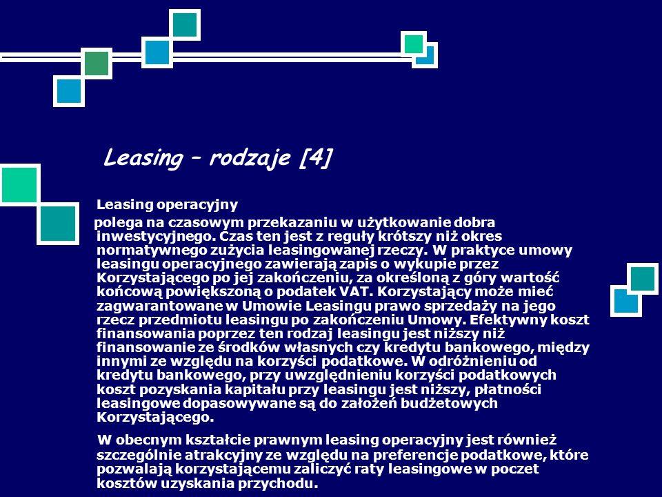 Leasing – rodzaje [4] Leasing operacyjny